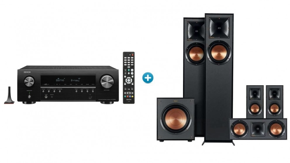 Denon AVR-S650H 5.2 Channel 4K AV Receiver with Klipsch R610 Floor Standing Speaker