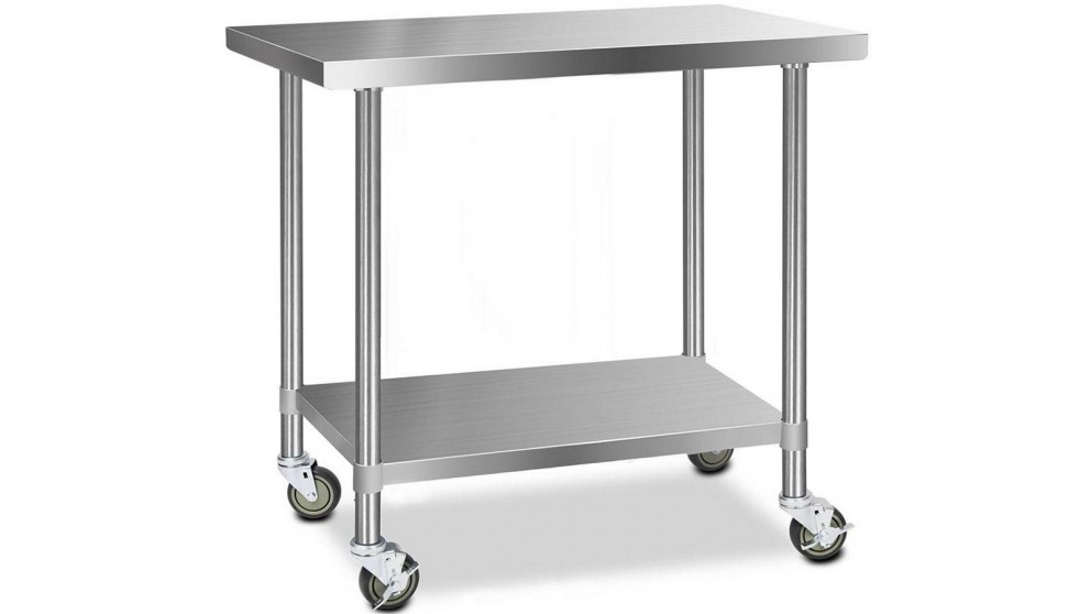 Cefito 304 Stainless Steel Work Bench Table with Wheels 121.9cmx61cm