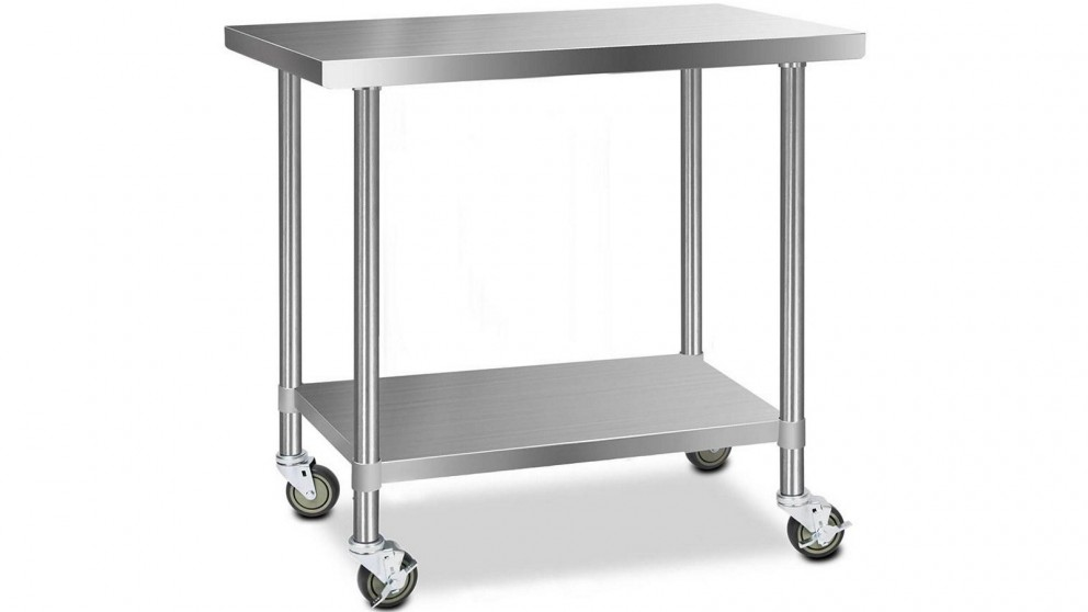 Cefito 430 Stainless Steel Bench Food Prep 121.9cmx61cm Table with Wheels