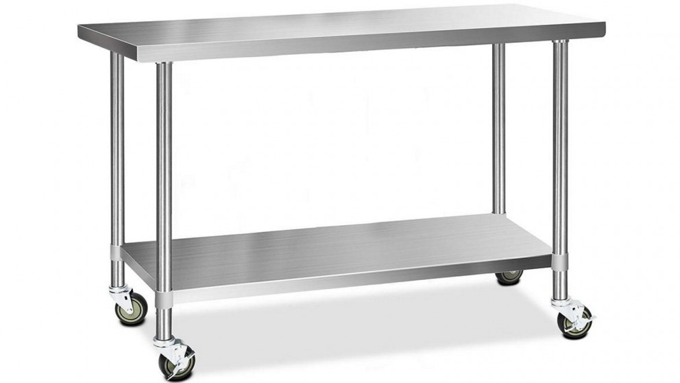 Cefito 430 Stainless Steel Bench Food Prep 152.4cmx61cm Table with Wheels