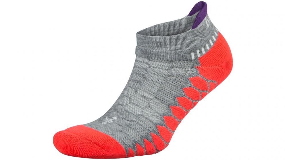 Balega Silver No Show Socks - Grey/Coral