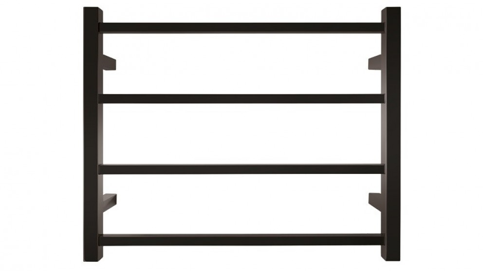 Forme Black Satin Round 4 Bar Heated Towel Rail