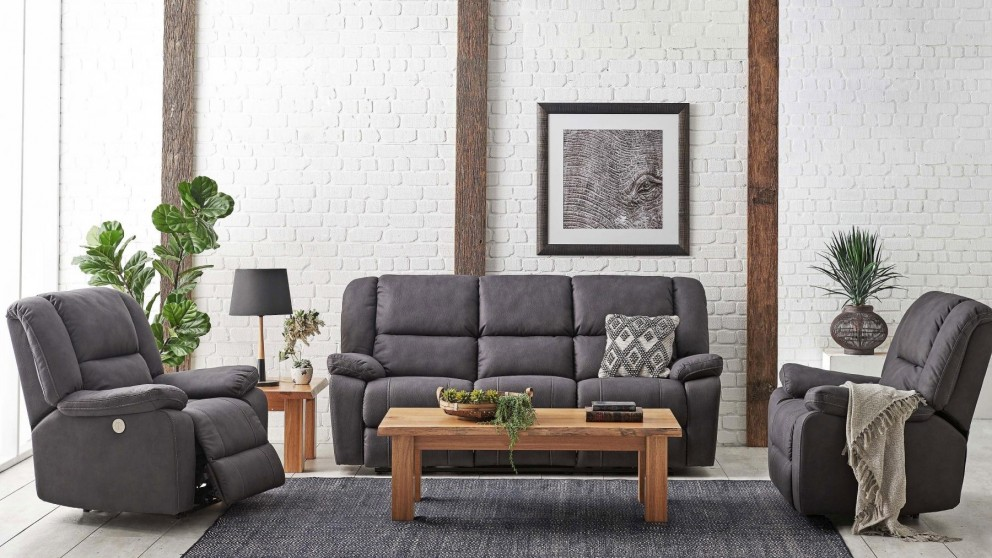 Bardo 3 Piece Powered Fabric Recliner Lounge Suite