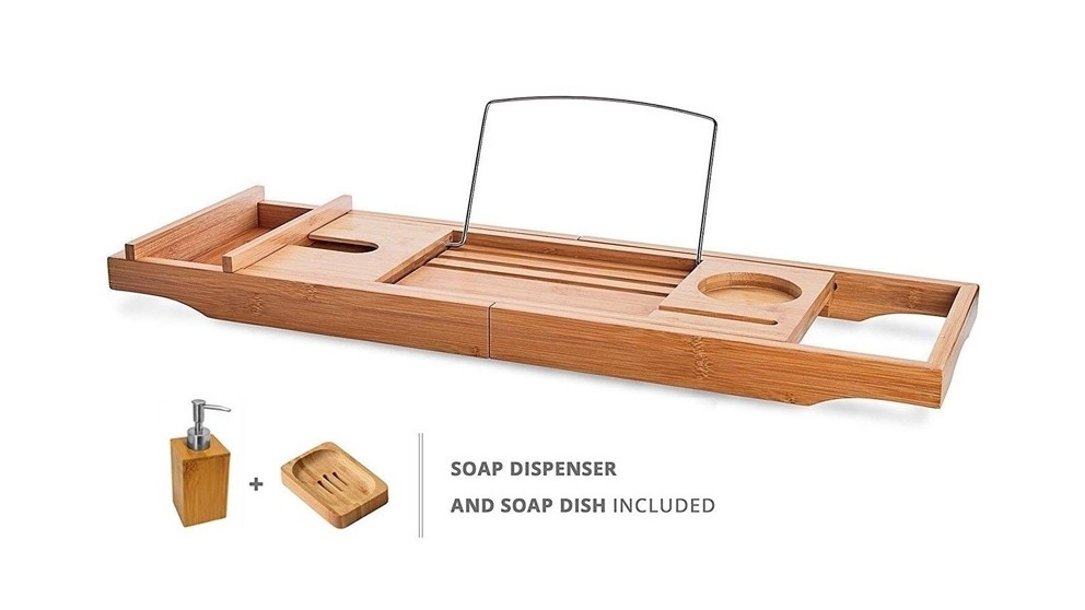 Decina Bamboo Bath Caddy with Soap Dish & Soap Dispenser
