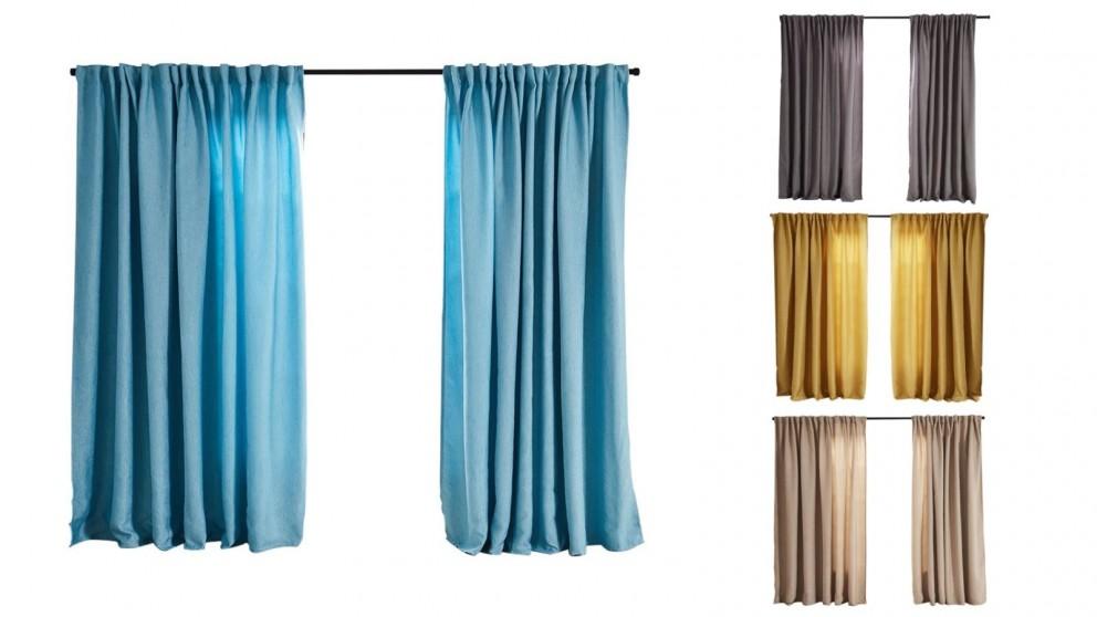 Set of 2 140x230cm Linen Texture Blockout Curtains