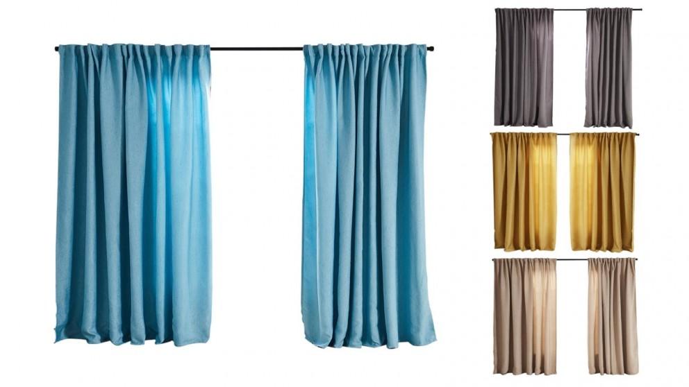 Set of 2 180x230cm Linen Texture Blockout Curtains