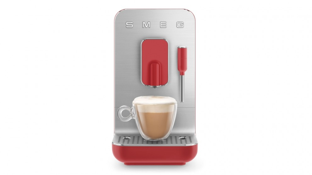 Smeg Bean to Cup Automatic Coffee Machine with Milk Frother - Red Matte