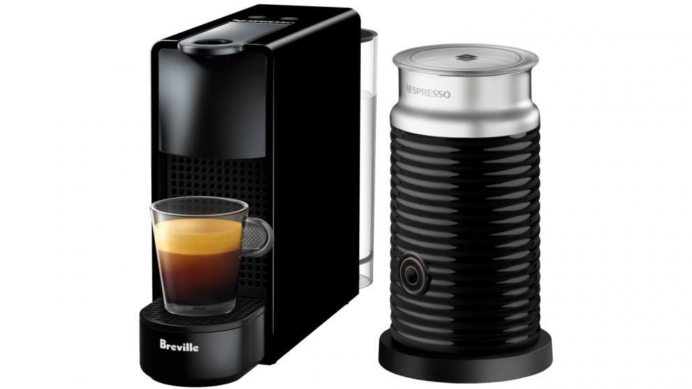 Nespresso Essenza Mini Coffee Machine with Milk Frother by Breville - Piano Black
