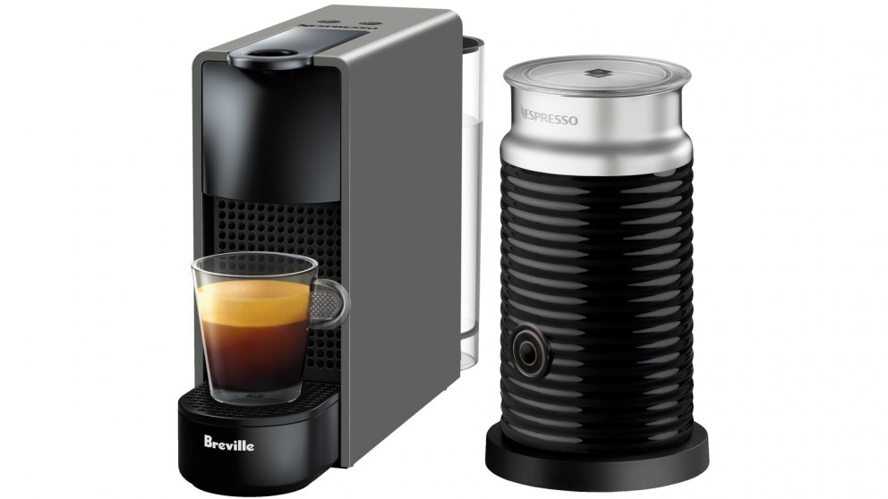 Nespresso Essenza Mini Capsule Coffee Machine with Milk Frother - Intense Grey