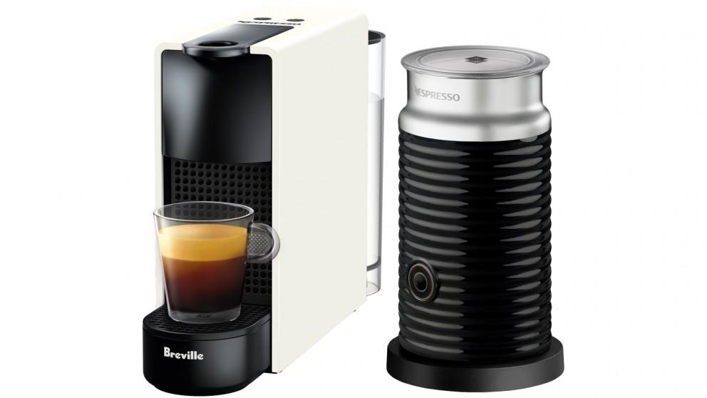 Nespresso Essenza Mini Capsule Coffee Machine with Milk Frother - Pure White