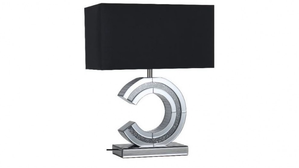 Clare Large Mirror Bedside Lamp - Black