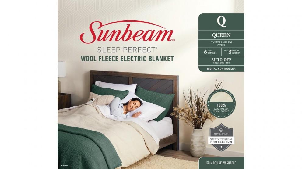 Sunbeam Sleep Perfect Wool Fleece Queen Electric Blanket