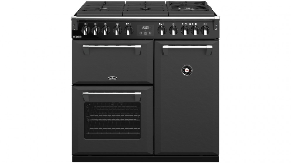Belling 900mm Richmond Deluxe Dual Fuel Gas-Through-Glass Range Cooker - Graphite