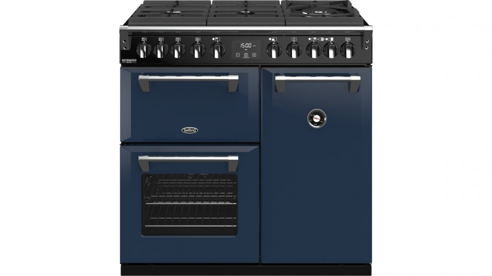 Belling 900mm Richmond Deluxe Dual Fuel Gas-Through-Glass Range Cooker - Midnight Blue