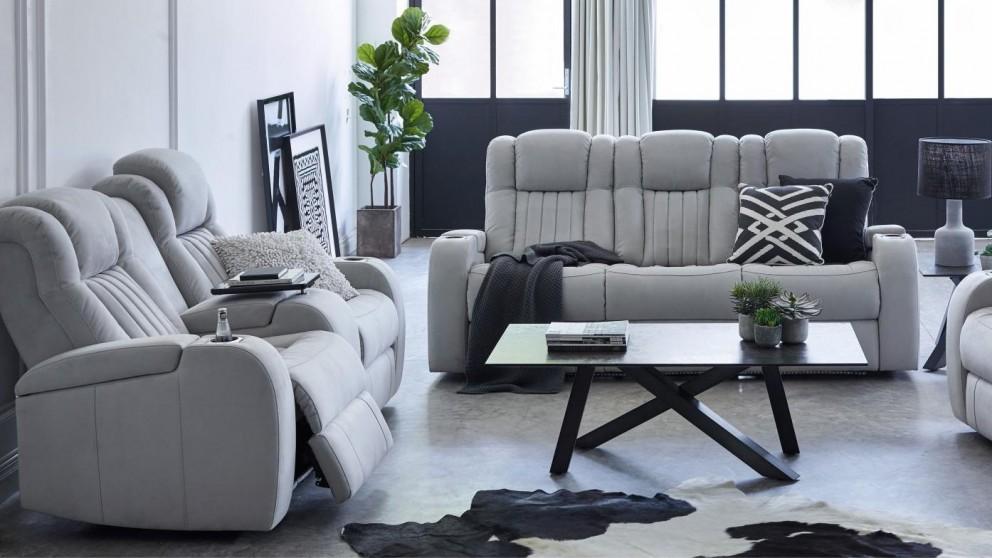 Buy Brockman 3 Seater Powered Fabric Recliner Sofa