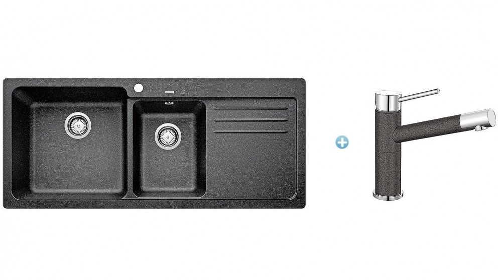 Blanco SILGRANIT 1 and 1/2 Bowl Sink and ALTAA Tap - Anthracite ...