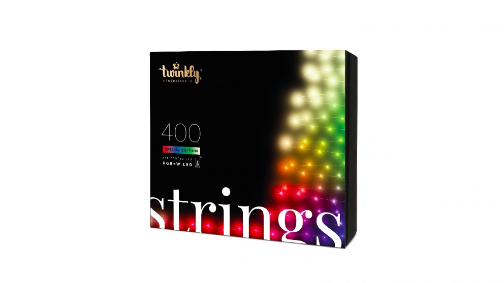 Twinkly App-Controlled Christmas Light String with 400 RGB+W LED (Red, Green, Blue + Warm White)