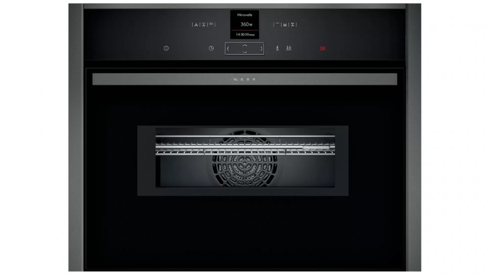 NEFF 600mm N 70 Built-in Compact Oven with Microwave - Graphite Grey