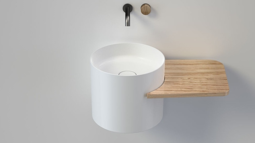 Caroma Elvire 400 Wall Basin with Right Hand Tasmanian Oak Shelf