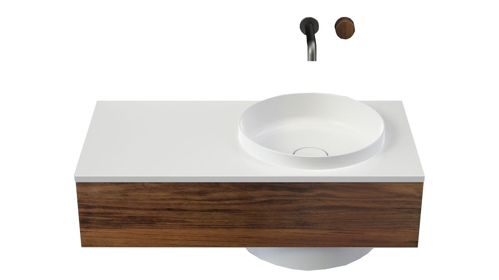 Caroma Elvire 900mm Left Hand Shelf Wall Basin with Tasmanian Blackwood Cabinetry