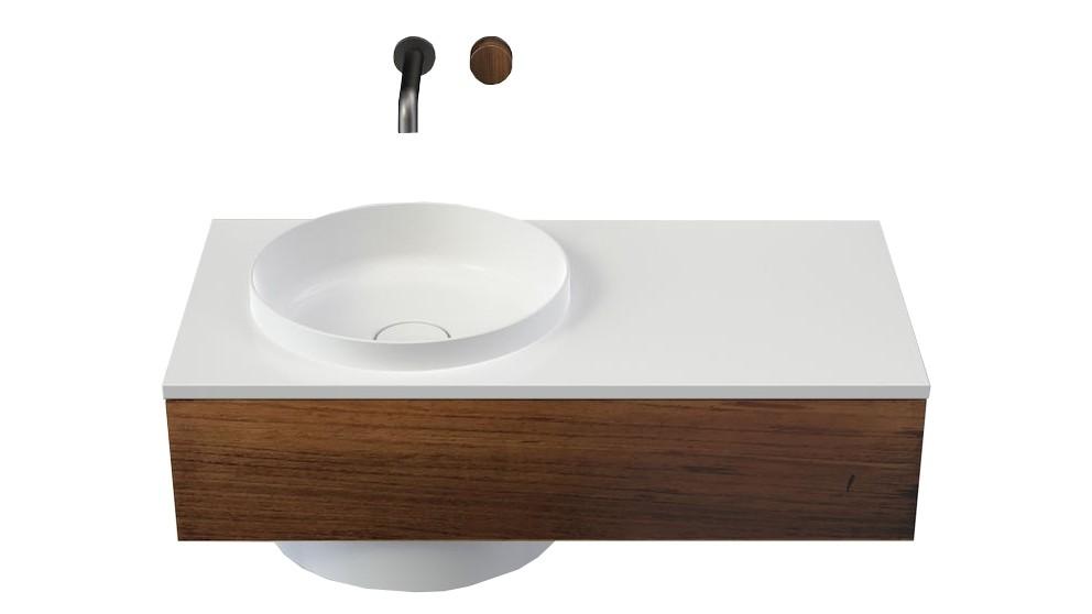 Caroma Elvire 900mm Right Hand Shelf Wall Basin with Tasmanian Blackwood Cabinetry