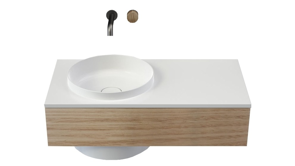 Caroma Elvire 900mm Right Hand Shelf Wall Basin with Tasmanian Oak Cabinetry