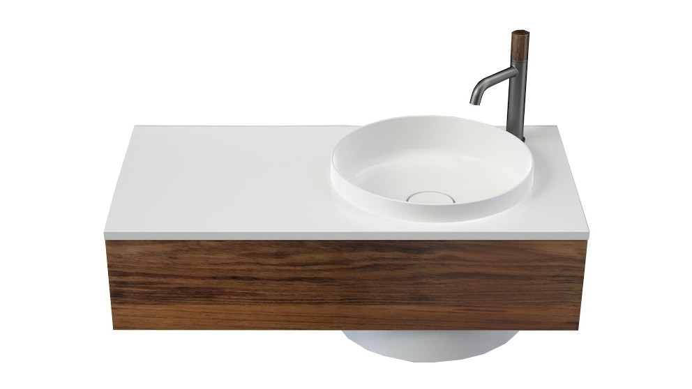 Caroma Elvire 900mm Left Hand Shelf Wall Basin with Tasmanian Blackwood Cabinetry & 1 Tap Hole