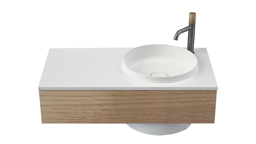 Caroma Elvire 900mm Left Hand Shelf Wall Basin with Tasmanian Oak Cabinetry & 1 Tap Hole