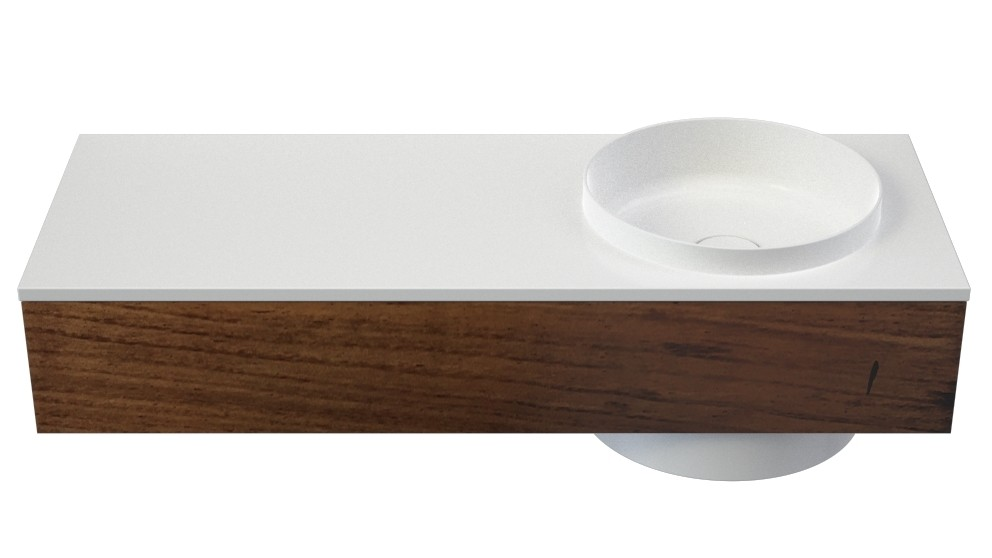 Caroma Elvire 1200mm Left Hand Shelf Wall Basin with Tasmanian Blackwood Cabinetry