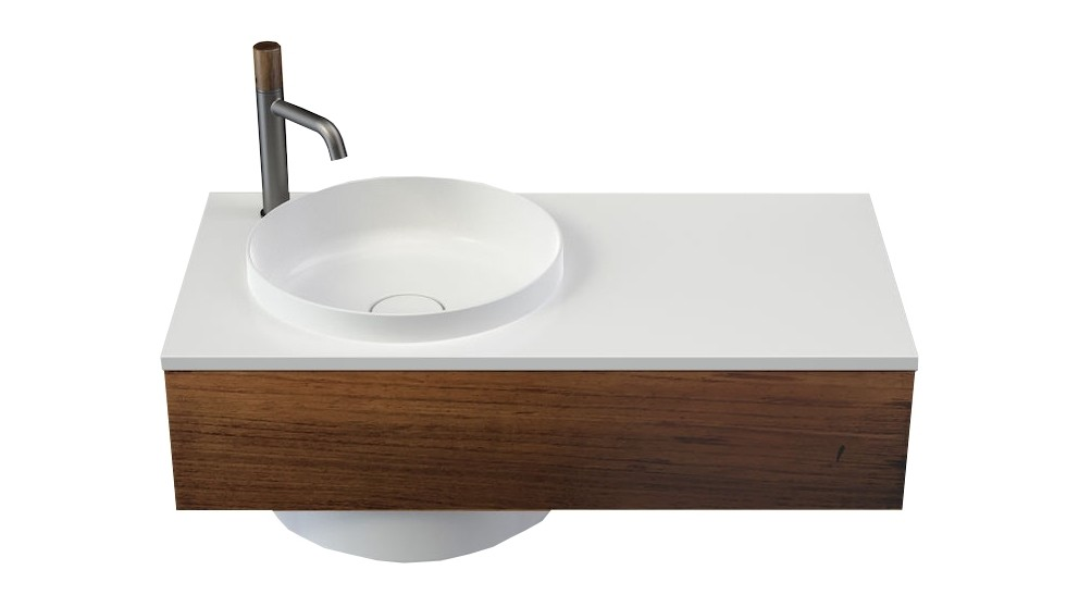 Caroma Elvire 900mm Right Hand Shelf Wall Basin with Tasmanian Blackwood Cabinetry & 1 Tap Hole