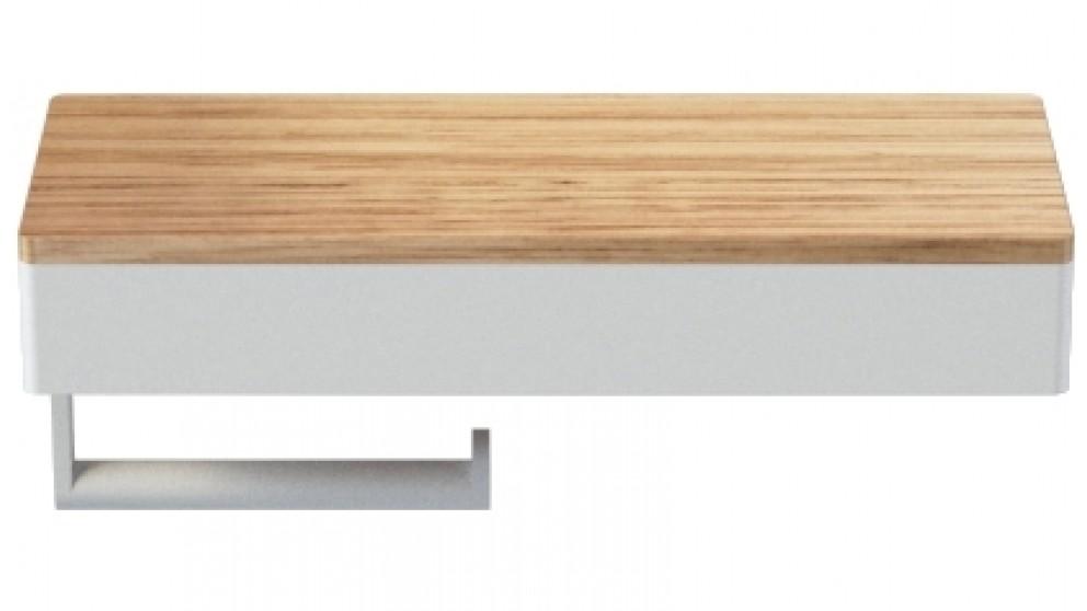 Caroma Elvire Toilet Roll Holder with Shelf - Tasmanian Oak