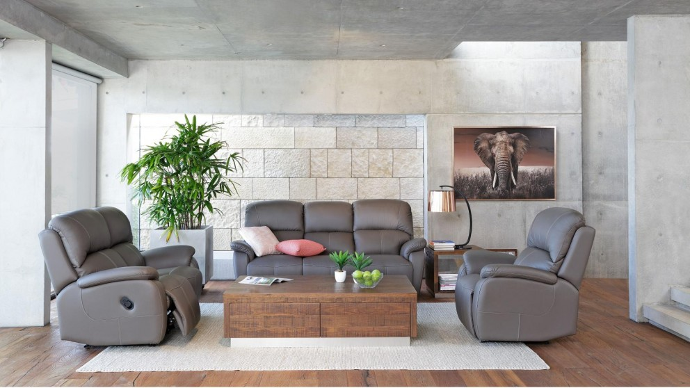 Camden 3 Piece Leather Recliner Lounge Suite