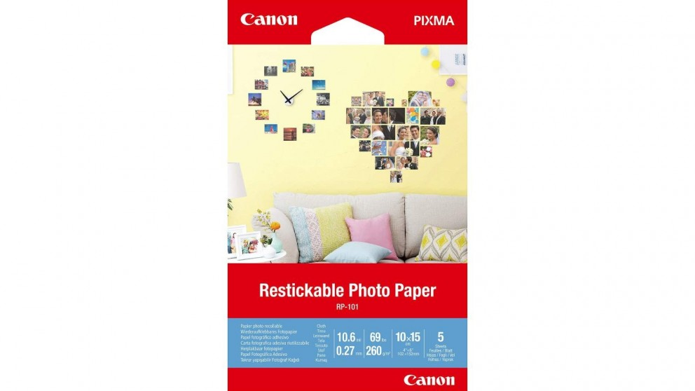 Canon 5-Sheets 4x6-inch Restickable Photo Paper