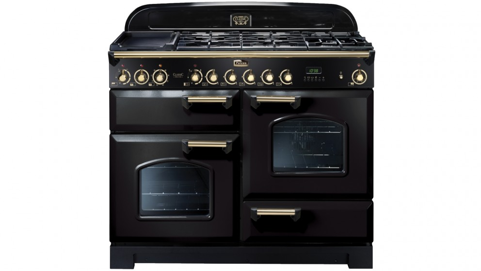 Falcon Classic Deluxe 1100mm Brass Fitting Dual Fuel Freestanding Cooker - Black Brass