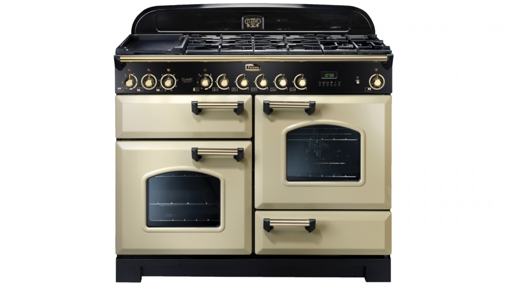 Falcon Classic Deluxe 1100mm Brass Fitting Dual Fuel Freestanding Cooker - Cream Brass
