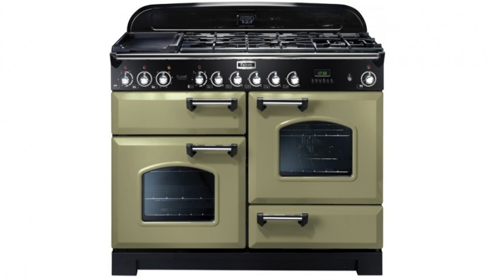 Falcon Classic Deluxe 1100mm Dual Fuel Freestanding Cooker - Olive Green Chrome