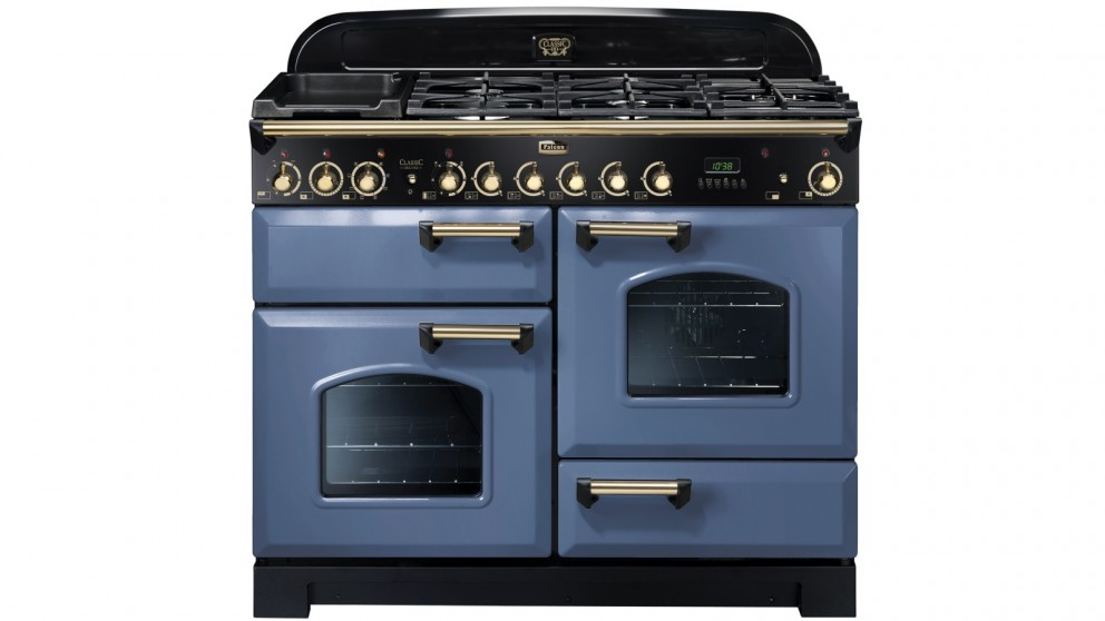 Falcon Classic Deluxe 1100mm Brass Fitting Dual Fuel Freestanding Cooker - Stone Blue