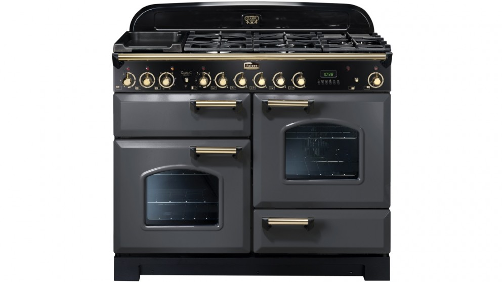 Falcon Classic Deluxe 1100mm Brass Fitting Dual Fuel Freestanding Cooker - Slate/Brass