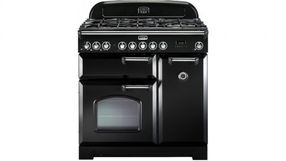 Falcon Classic Deluxe 900mm Dual Fuel Freestanding Cooker - Black Chrome