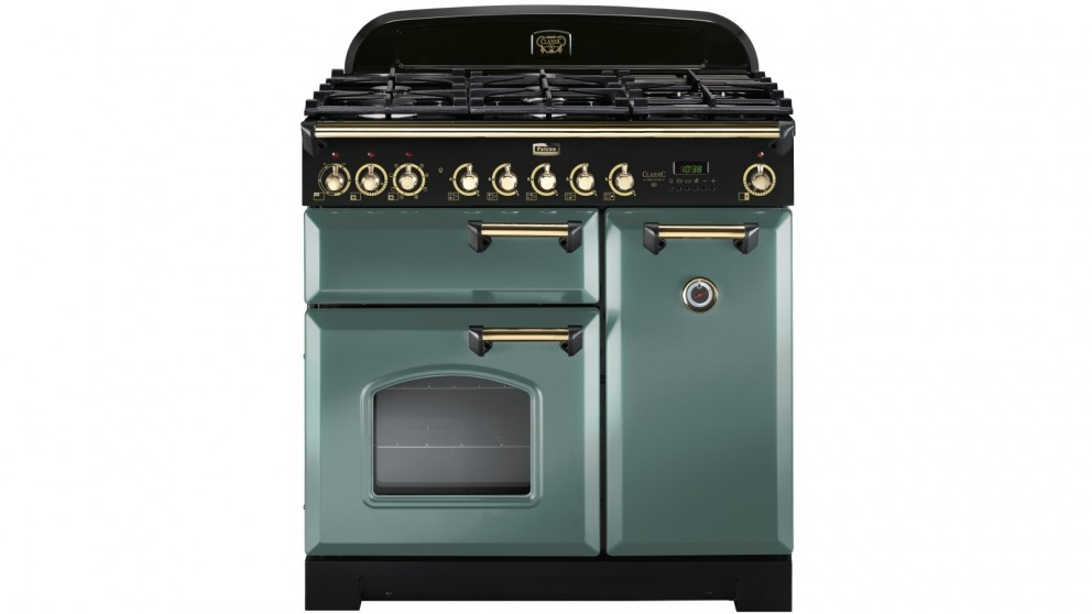 Falcon Classic Deluxe 900mm Brass Fitting Dual Fuel Freestanding Cooker - Mineral Green