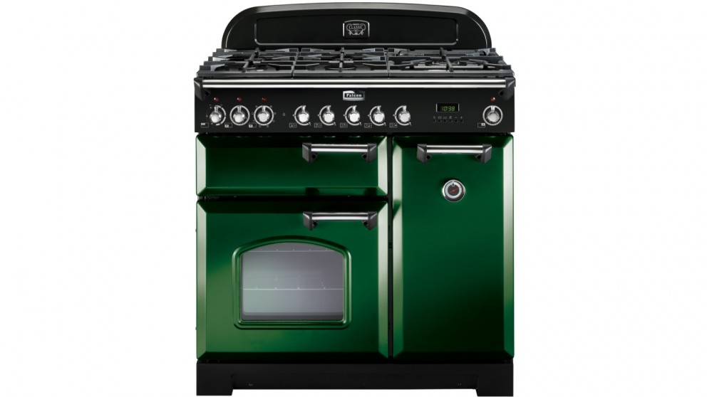 Falcon Classic Deluxe 900mm Dual Fuel Freestanding Cooker - Racing Green Chrome