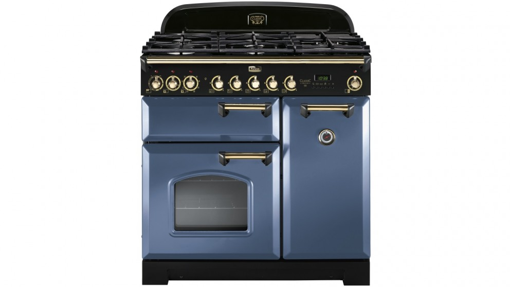 Falcon Classic Deluxe 900mm Brass Fitting Dual Fuel Freestanding Cooker - Stone Blue