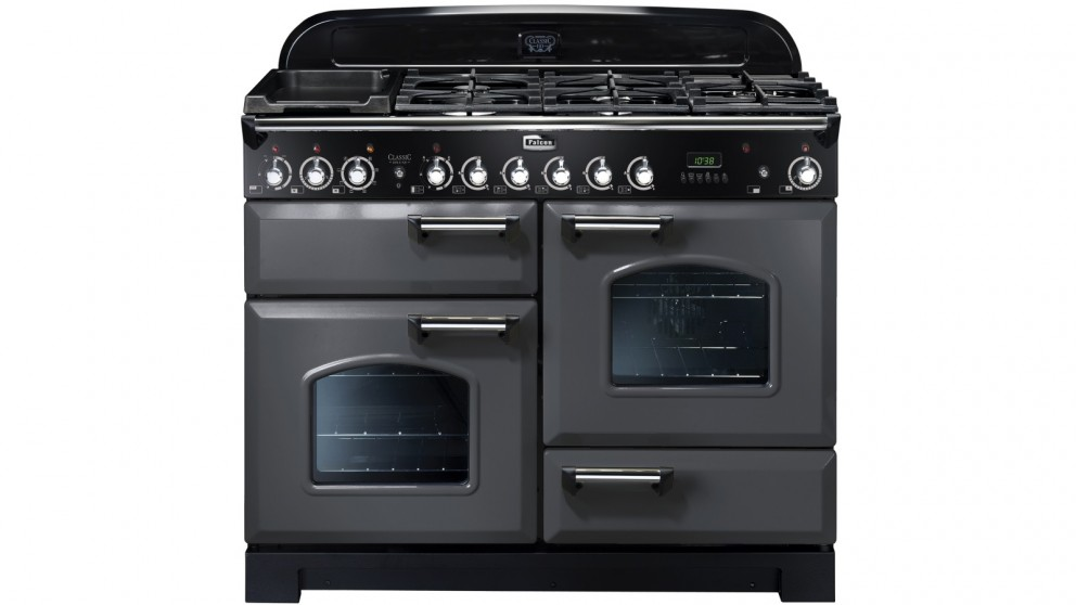 Falcon Classic Deluxe 1100mm Brass Fitting Dual Fuel Freestanding Cooker - Slate/Chrome