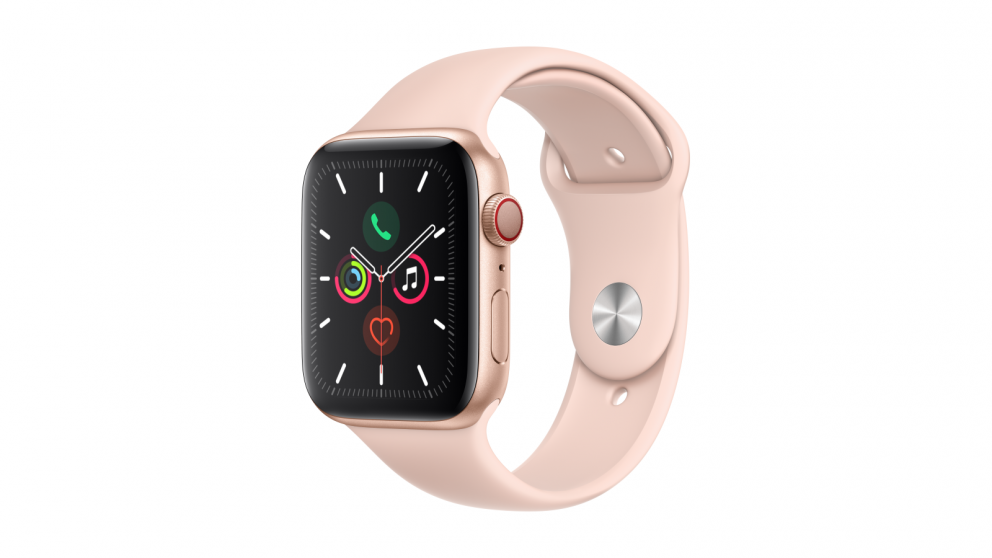 Apple Watch Series 5 44mm Gold Aluminum Case with Pink Sand Sport Band - GPS + Cellular