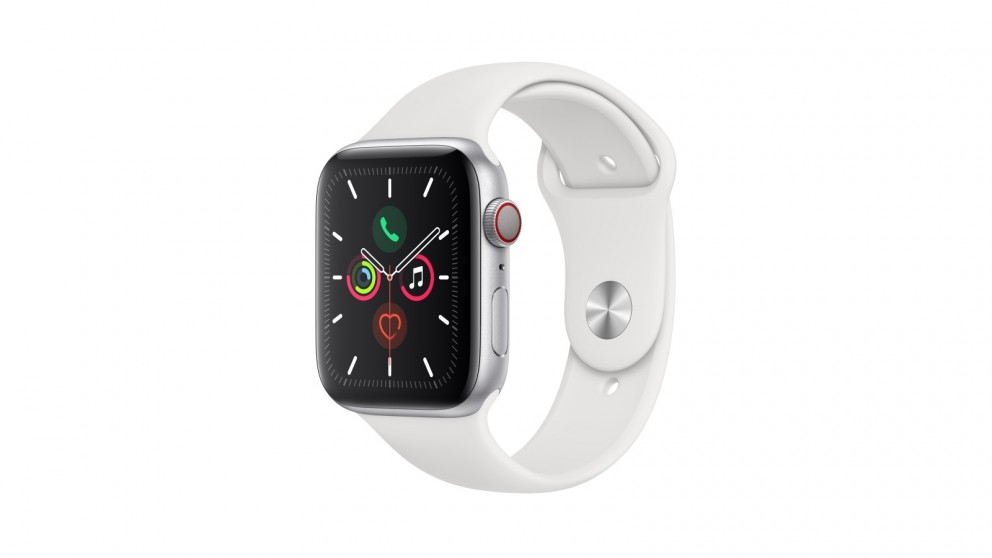 Apple Watch Series 5 44mm Silver Aluminum Case with White Sport Band - GPS + Cellular