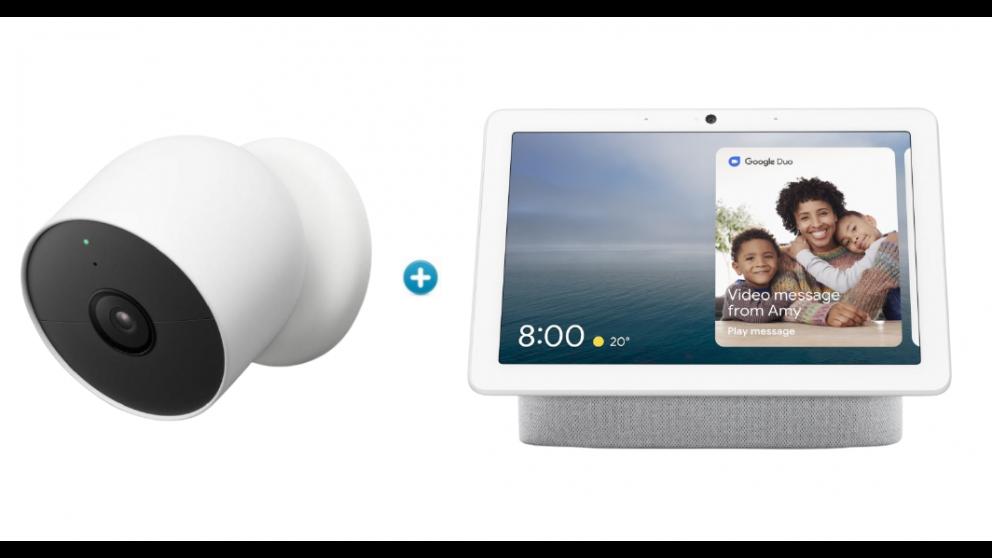 Google Nest Cam(1 Pack) with Google Nest Hub Max Chalk Bundle