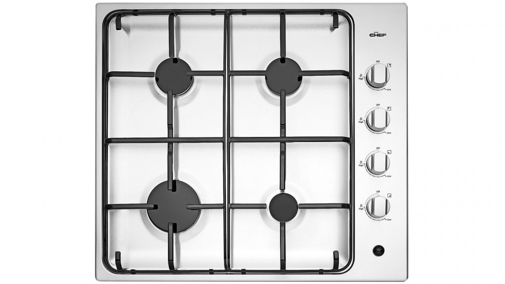 Chef 60cm 4 Burner Stainless Steel Gas Cooktop with Battery Ignition