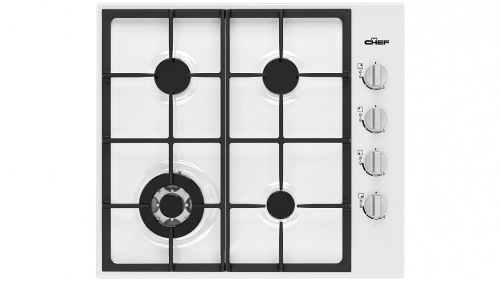 Chef 600mm 4 Burner Gas Cooktop with 14.4MJ/h Wok Burner - White