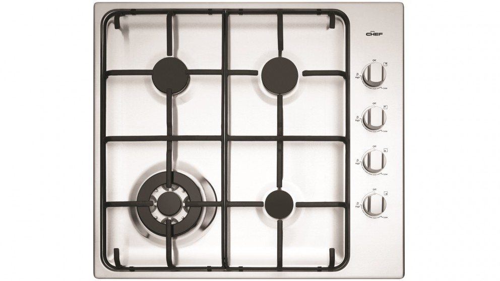 Chef 600mm 4 Burner Stainless Gas Cooktop