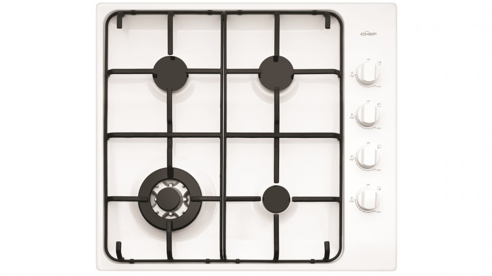Chef 600mm 4 Burner White Enamel Gas Cooktop